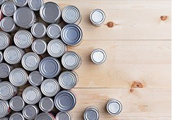 Canned goods on tabletop