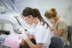 tech working in dental lab